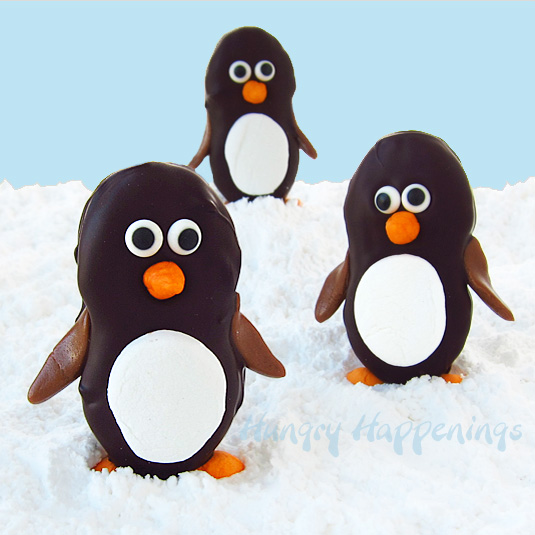 Dark Chocolate Nutter Butter Penguins With Marshmallow Bellies