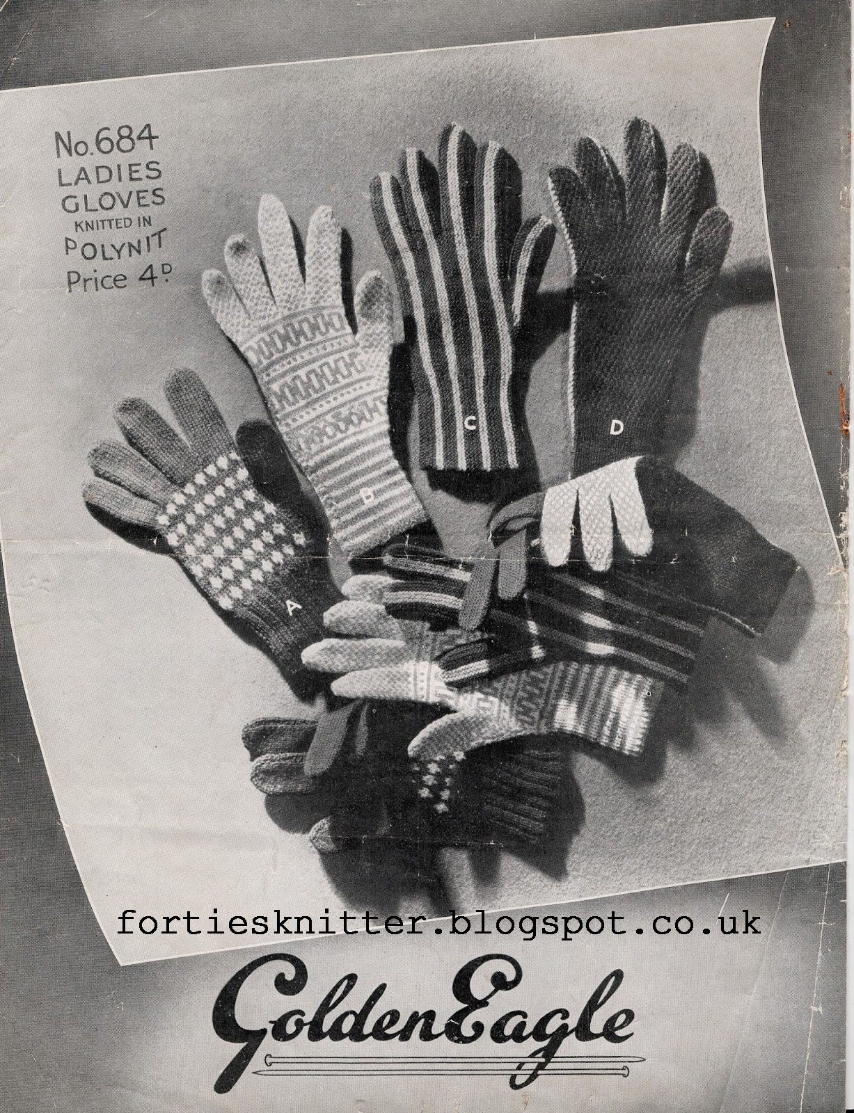 Free pattern 1940's Knitting Gloves