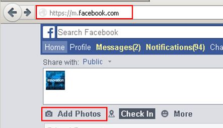 Cannot upload images on facebook
