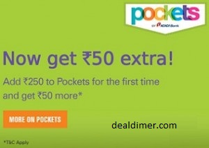 ICICI Bank Pockets Wallet Rs. 50 Cashback on Deposit of Rs. 250