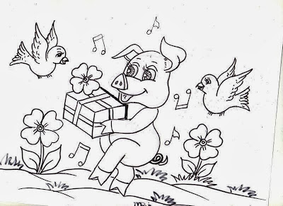 desenho de porquinho com presente, flores e passaros para pintar