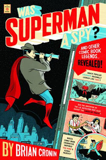 Cover of Was Superman a Spy showng a spy with a cape using a telescope.