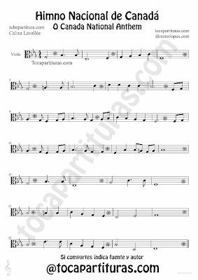 Tubescore Canada Nathional Anthem sheet Music for Viola O Canada Music score