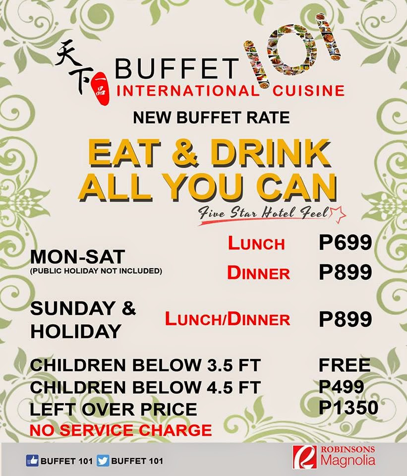 Manila shopper buffet 101 promo for birthday celebrators buffet 101 buffet rates subject to change xflitez Gallery