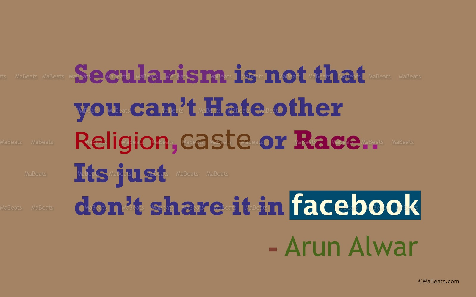 Secularism in Facebook - A Facebook Quote