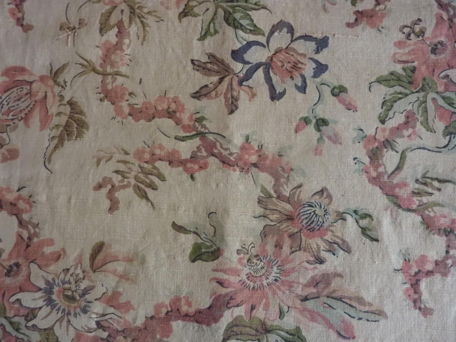 807 magnifique tissu ameublement ancien 19e fleuri clematites fond ecru 120 x 290 les ateliers. Black Bedroom Furniture Sets. Home Design Ideas