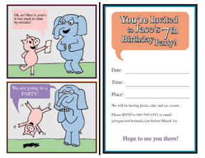Piggie and Gerald Birthday Party Invitations