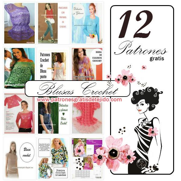 12 patrones de blusas caladas tejidas al crochet