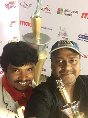 sampoorneshbabu, burningstar, cine maa awards2015, sampoo, hrudayakaleyam movie, award, receive