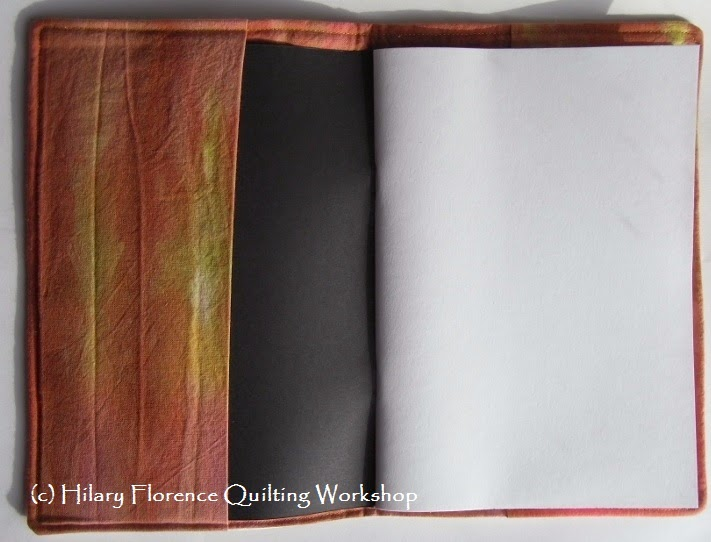 Sketch book cover, free motion quilted with seed heads, lined with hand dyed fabric Hilary Florence Quilting Workshop