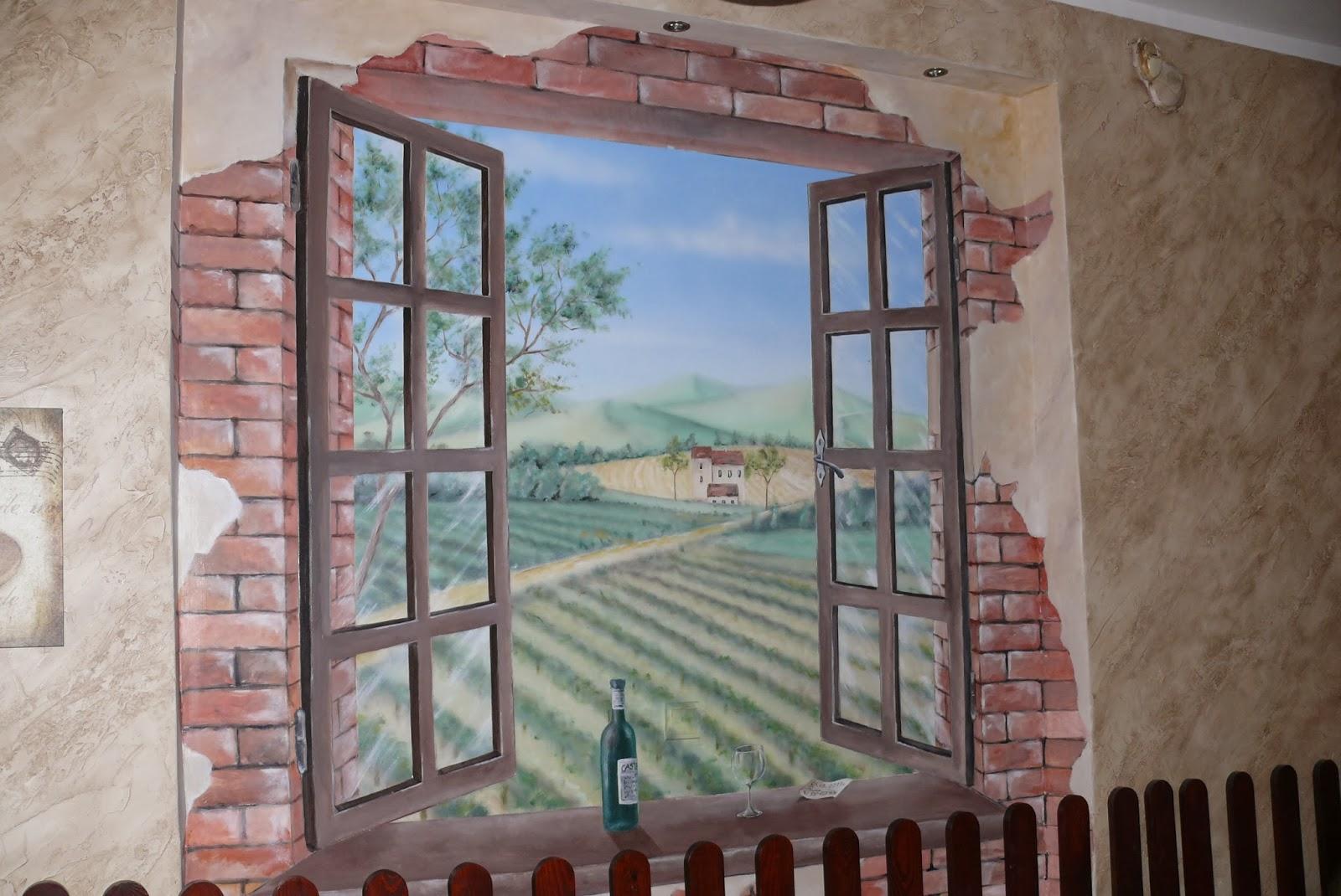 Artystyczne malowanie obrazu na ścinie, aranżacja ściany w pizzerii