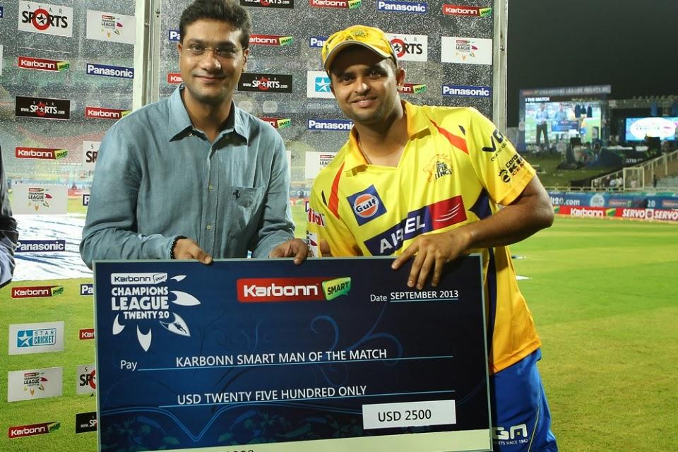 Suresh-Raina-Man-of-the-Match-Chennai-Super-Kings-vs-Titans-M3-CLT20-2013