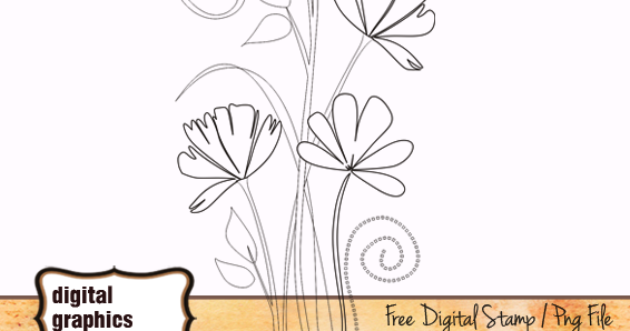 Line Art Digital : Flower digital stamp line art graphics café