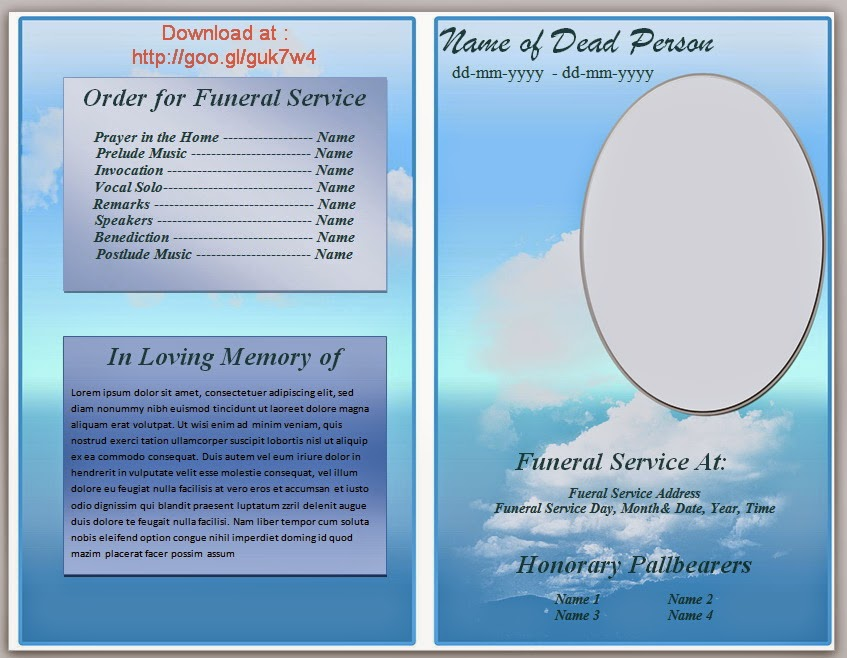 free obituary program template download - microsoft word template funeral program