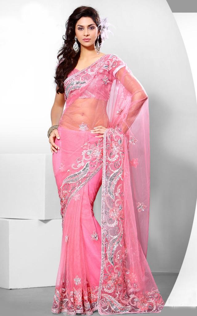Pink Party Wear Sarees Saree Sleeveless Blouse Partywear