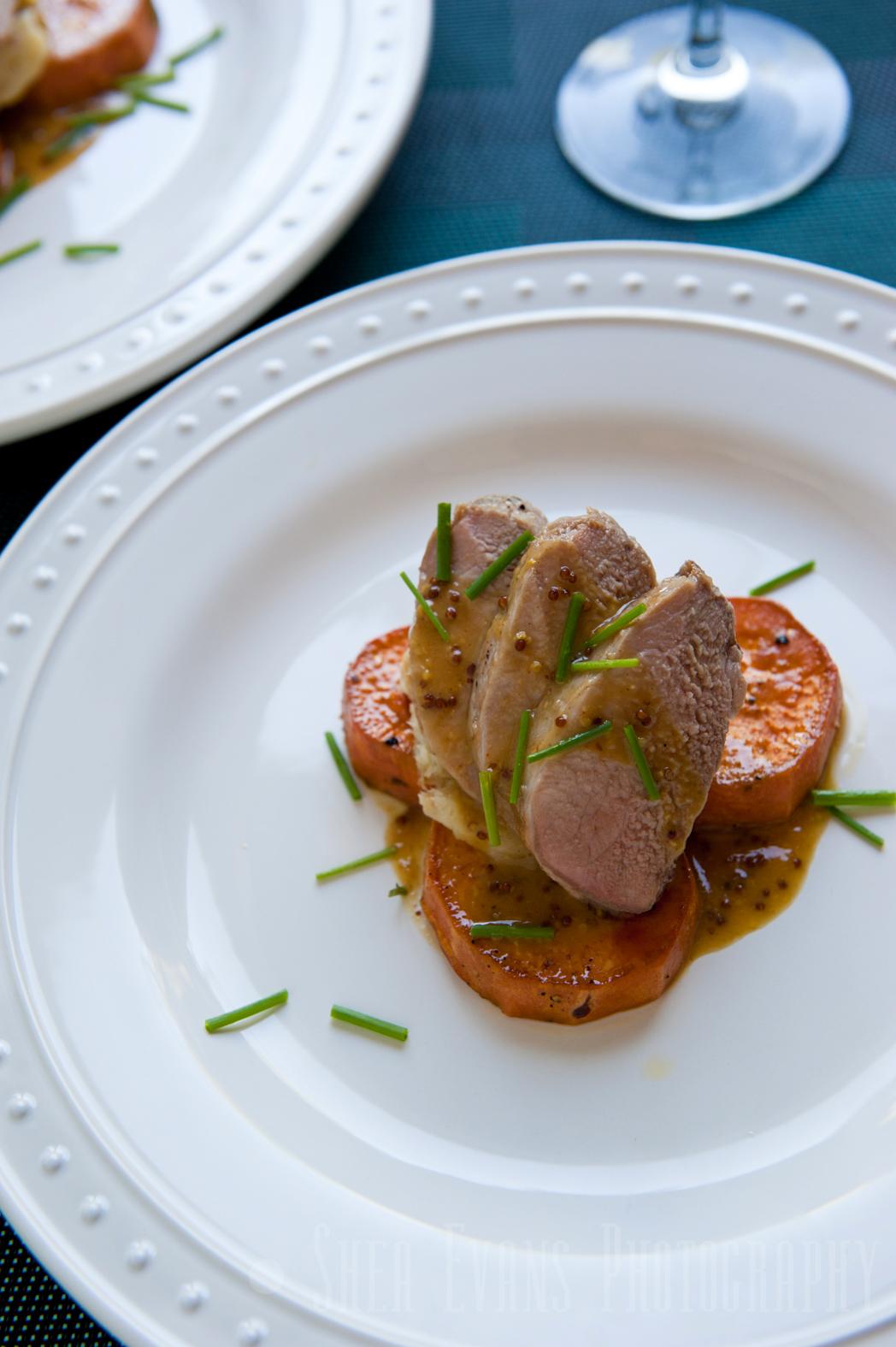 Pork Tenderloin Medallions with Parsnip Puree, Roasted Sweet Potatoes ...