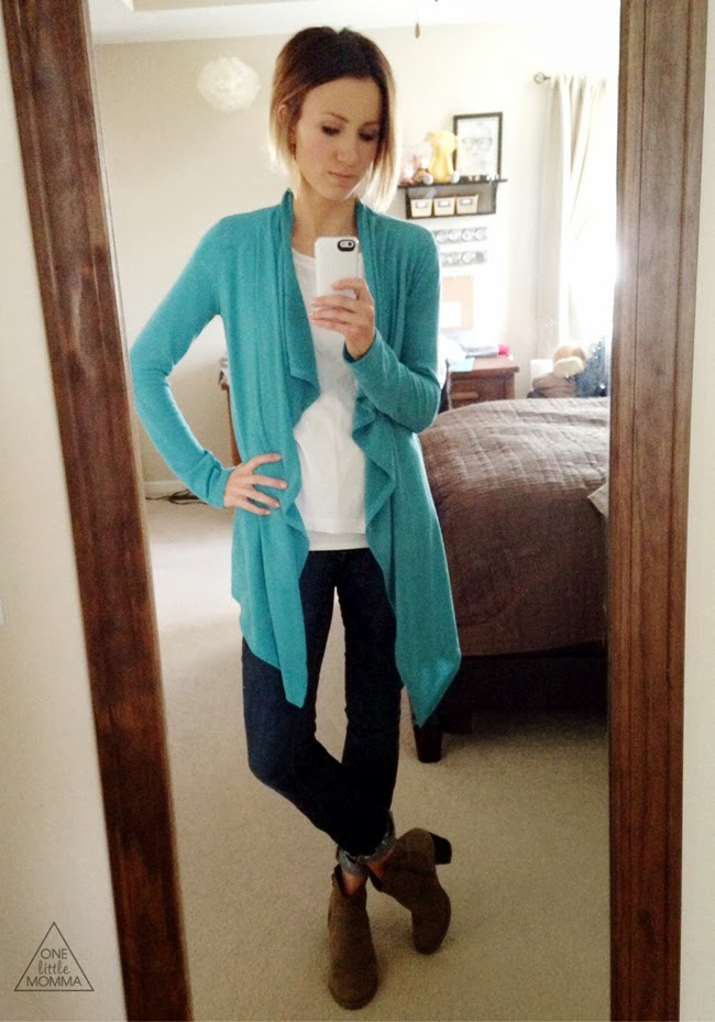Teal cardigan, dark denim and ankle boots
