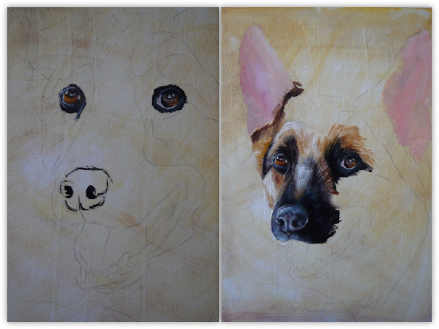 german shepherd painting - working progress
