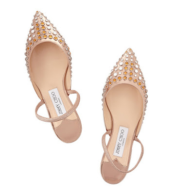 Jimmy Choo nude flat slingback shoes with studs