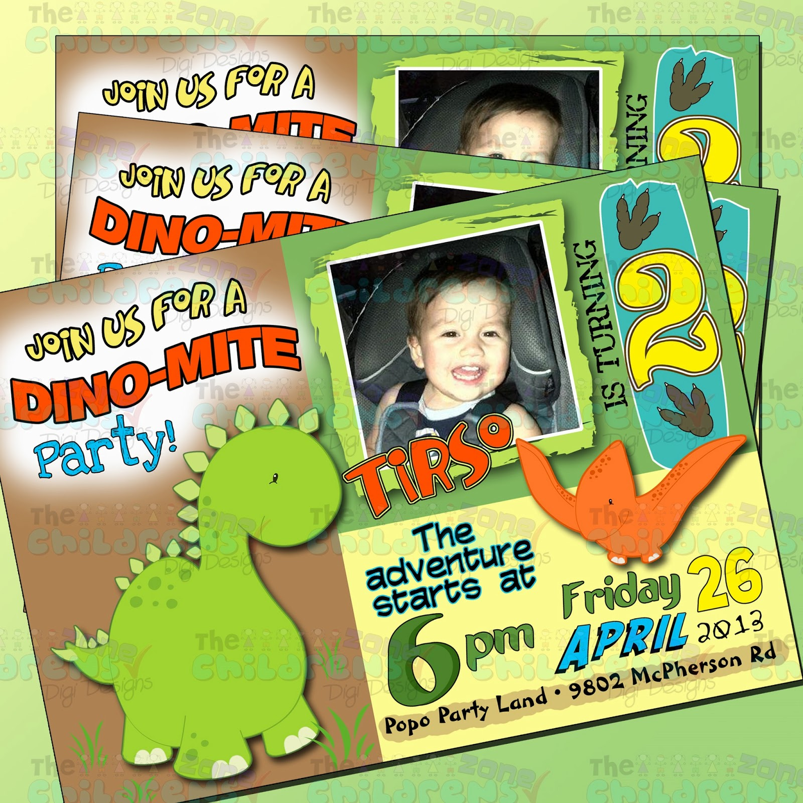 The Childrens Zone Digi Designs: Invitaciones de Dinosaurios