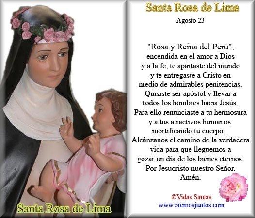 Rincón de la Oración: Estampas Oraciones de Santa Rosa de Lima