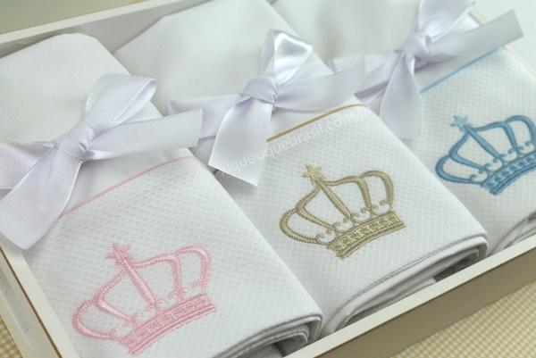 Bordado Coroa enxoval bebê