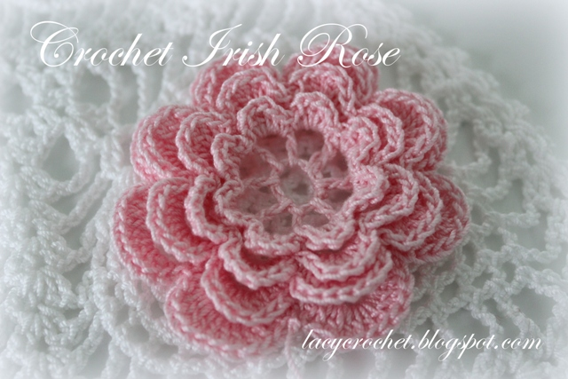 Free Crochet Rose Square Pattern : Lacy Crochet: Crochet Irish Rose