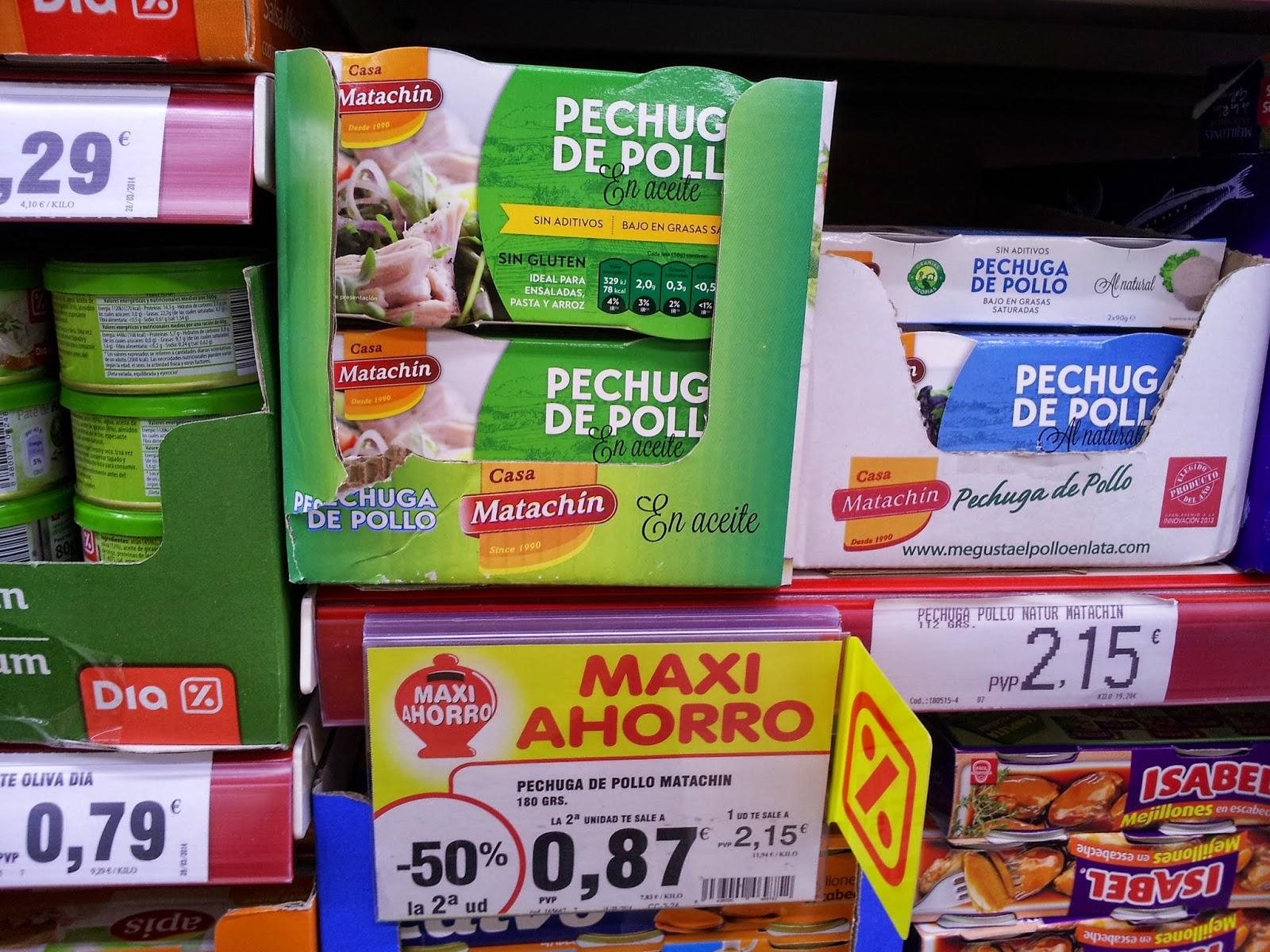 Pechuga de pollo en lata  Casa Matachín DIA -50% 2ª unidad