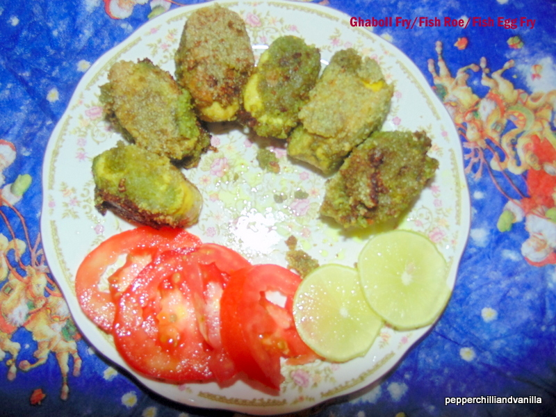 Ghaboli fry fish roe fry fish egg fry pepper chilli and for Fish whose eggs are used for caviar