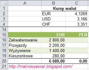 Przeliczanie walut EUR/ USD/ CHF na złotówki PLN - formatka
