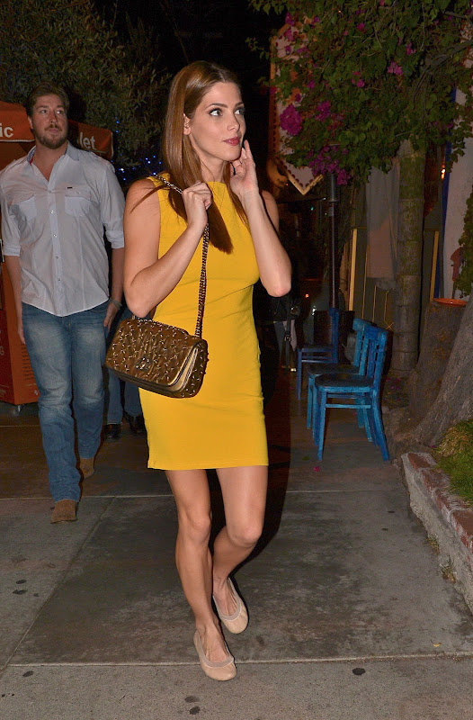 Ashley Greene in a yellow dress at the Little Door retaurant