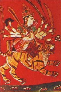 Vishnu, glass pain lag with gold leaf. Western India, nineteenth century.