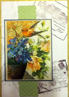 Collage paper with postcard stamps