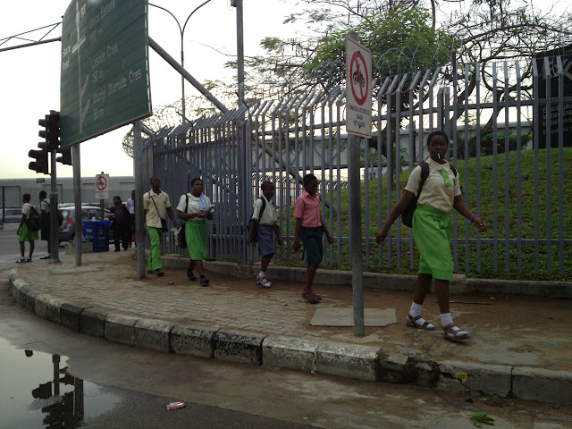 Nigerian students walking to school in Lagos, Nigeria