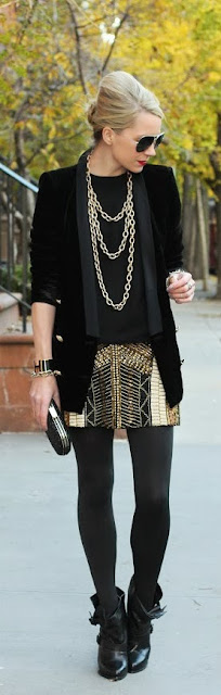 street style: black and gold outfit