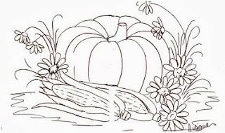 desenho de milho com abobora e margaridas para pintar