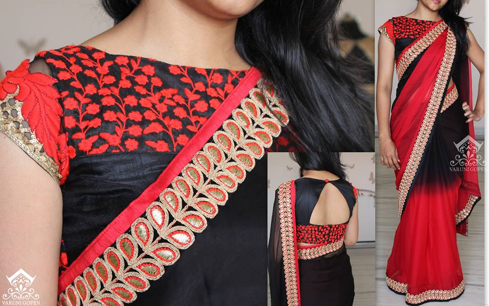 models of blouse designs front boat neck embroidery blouse
