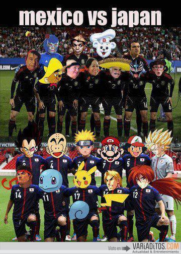 Mexico vs. Japón versión dibujos animados