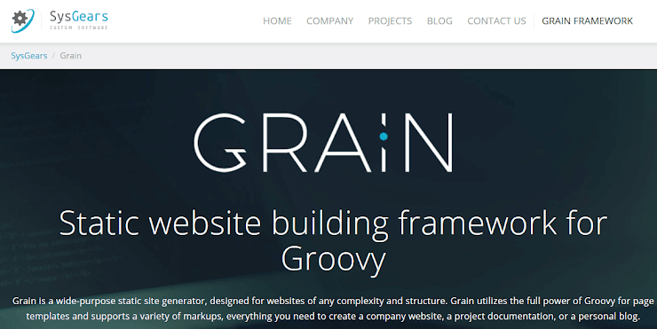 Grain framework for static sites