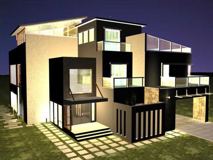 Design modern house plans 3d for Modern house designs 3d