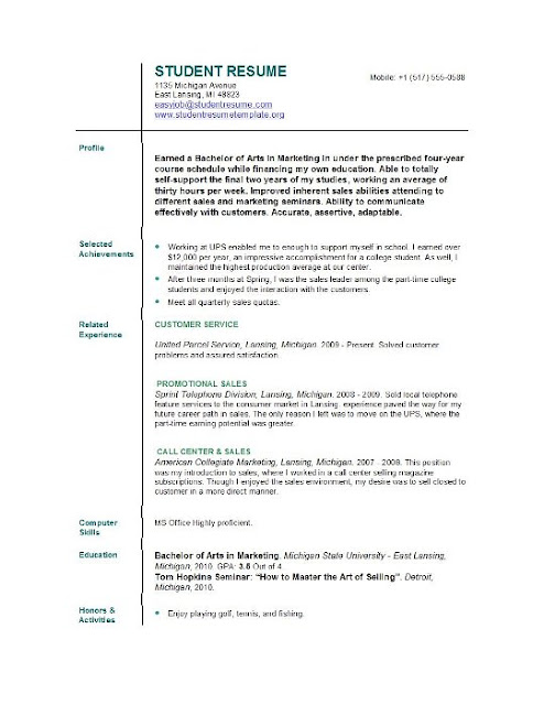 Resume For College Application Sample
