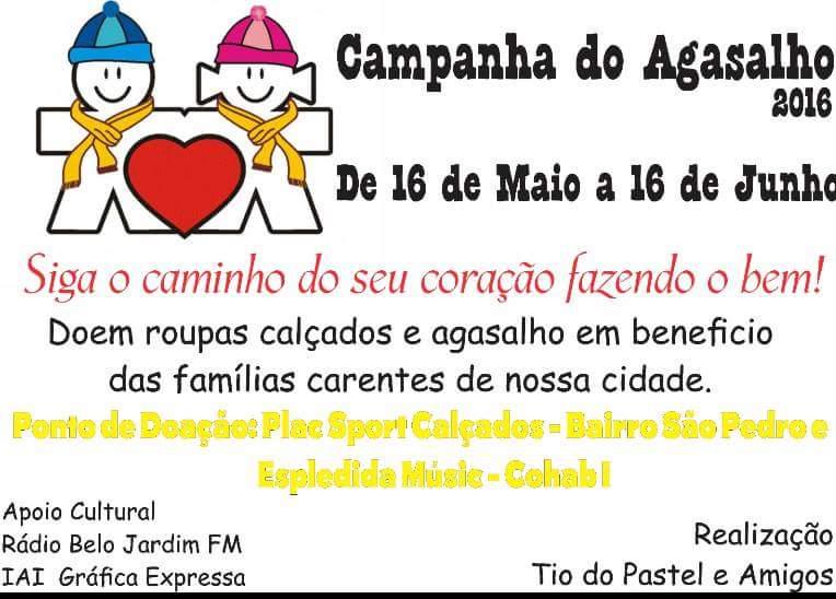 CAMPANHA DO AGASALHO DO AMIGO TIO DO PASTEL  DE 16.05.2016 A 16.06.2016