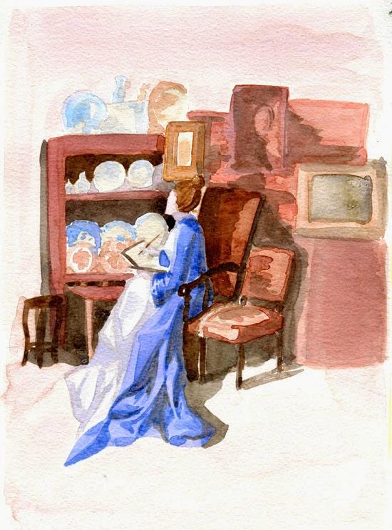 Aquarelle représentant une femme assise en robe bleue