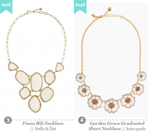 3. Stella and Dot - Fiona bib necklace, 4. Kate Spade - Garden Grove Graduated Short Necklace