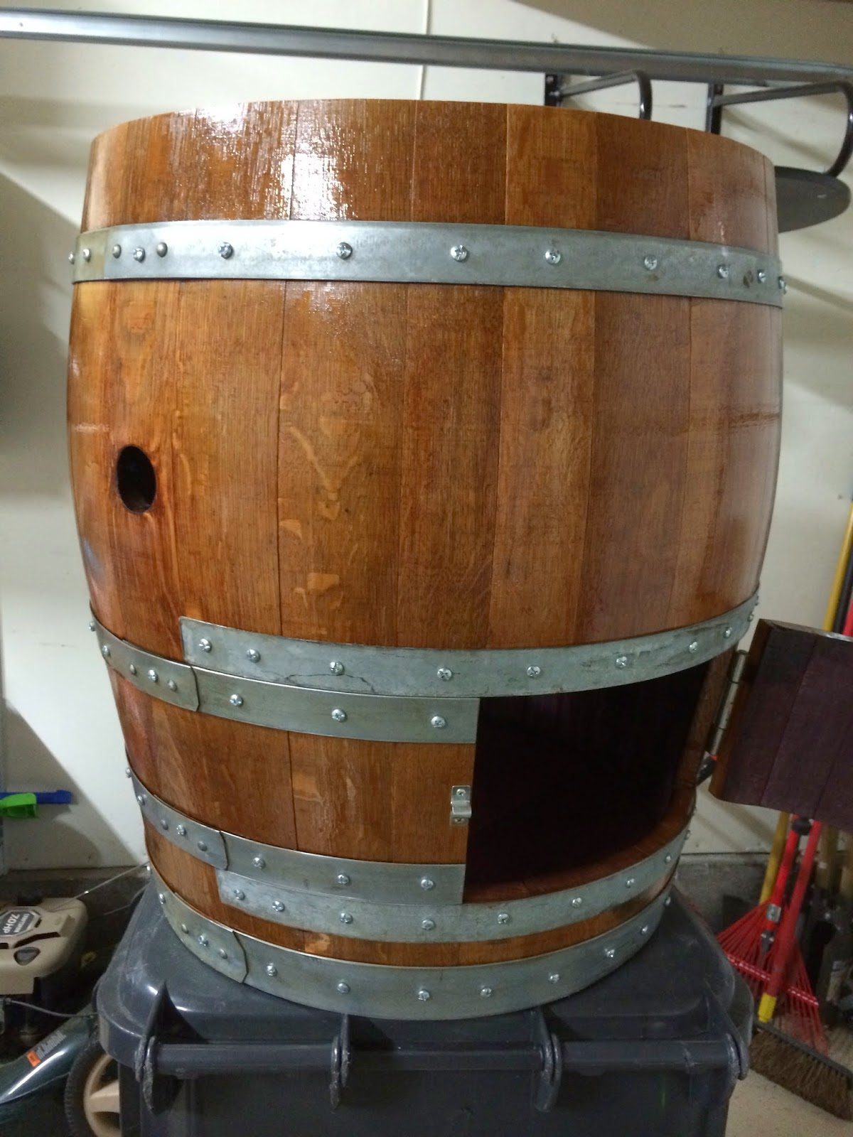 After I Got The Lid Off It Was Time To Stain And Treat Wood You Can Pretty Much Use Wver Want For Outside Of Barrel