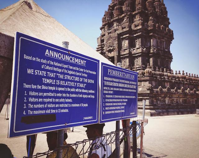 Yogyakarta Prambanan Candi Shiva Notice
