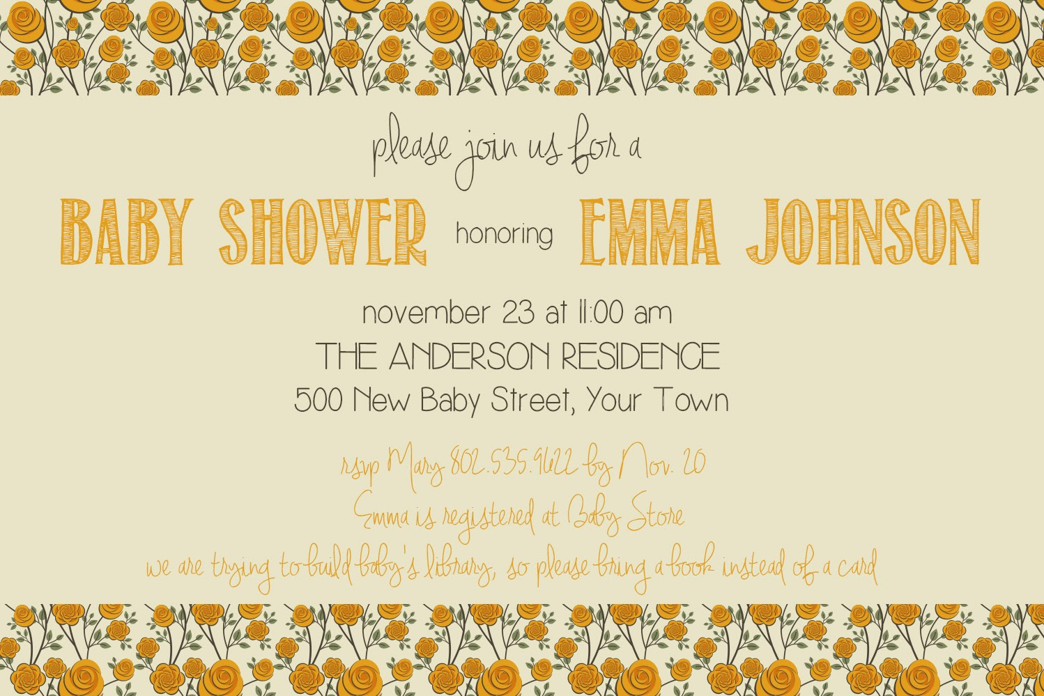 vintage baby shower invitation, floral baby shower invitation