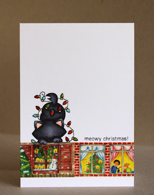 Cat Christmas Card by Alice Wertz for Newton's Nook Designs