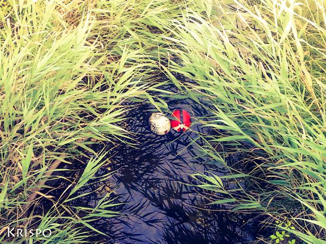 dos cascos de moto en un rio visto desde arriba