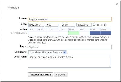 Gmail - Ventana de Invitación. Google Calendar.